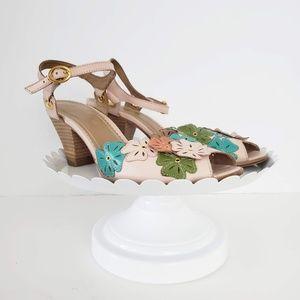 Anthropologie Miss Albright Blush Floral Heel 8.5
